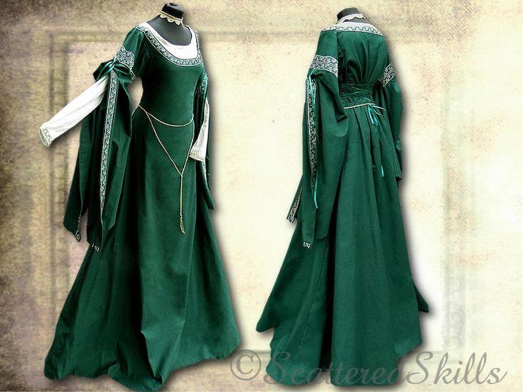 Vestido medieval traje de fantasía LARP en su tamaño  de