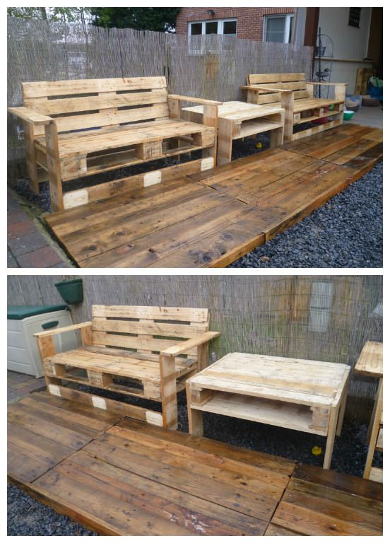 Two benches and a table for my new garden set made with upcycled pallets! Deux bancs et une table réalisés à l'aide de palettes recyclées! Submitted by: degrave yves !