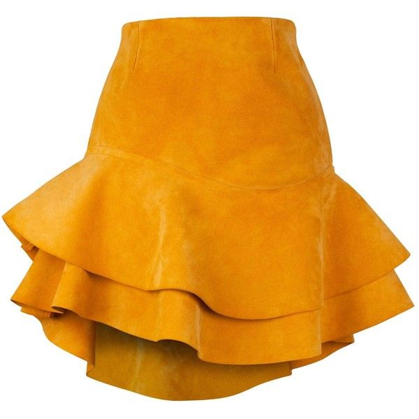 Siobhan Molloy - Lashes Tangerine Calf Suede Skirt found on Polyvore featuring skirts, spódnice, frilly skirt, yoke skirt, ruffle skirt, fitted skirts and orange mini skirt