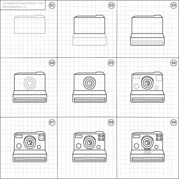 How to draw a polaroid camera.