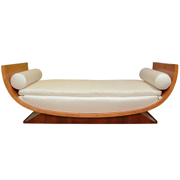 A Signed Leleu Upholstered Sycamore Daybed.Art Deco Art, New Decoarting, Upholstered Sycamore, Sycamore Daybeds, Interiors Design, Art Decoarting, Interiors Decor, Signs Leleu, Leleu Upholstered
