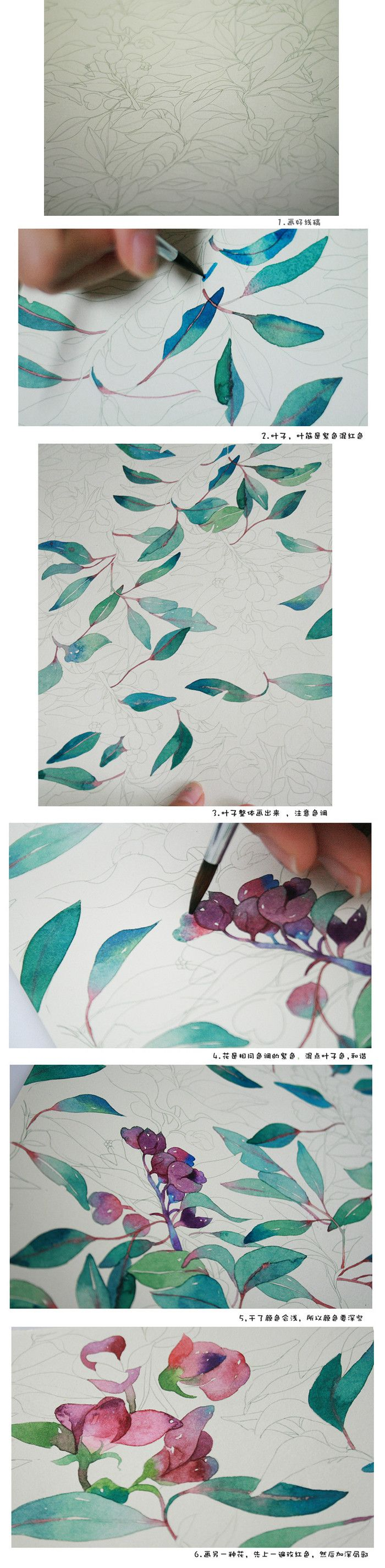 Watercolor flowers step FIG -candy Tian _ watercolor illustration step tutorial…