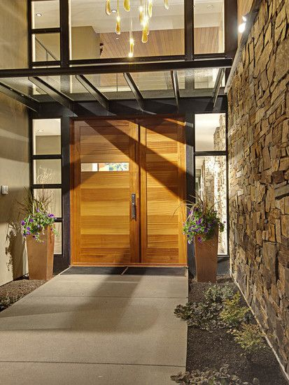 Forest House Exterior Features, Contemporary Entry, Seattle
