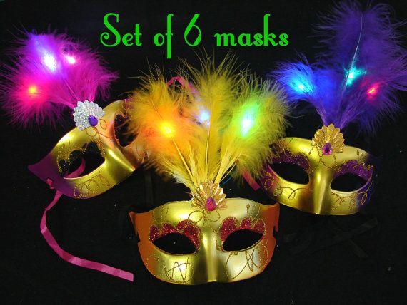 LED Lighted Mardi Gras Mask for masquerade or costume - SET OF 6 masks - 3 flashing modes