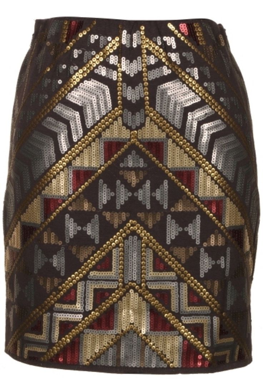 Sequin tribal print skirt