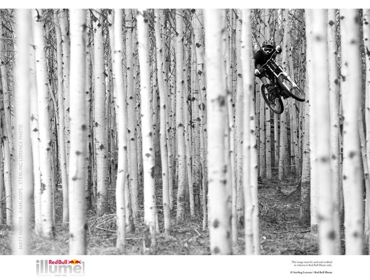 beautiful and improbable B&W mountain bike shot