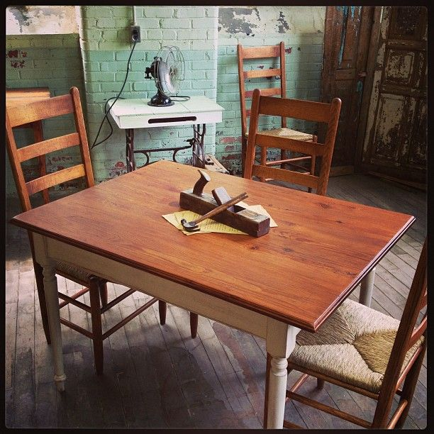 Farm Table And Ladder Back Chairs Handcrafted Reclaimed Antique Heart Pine