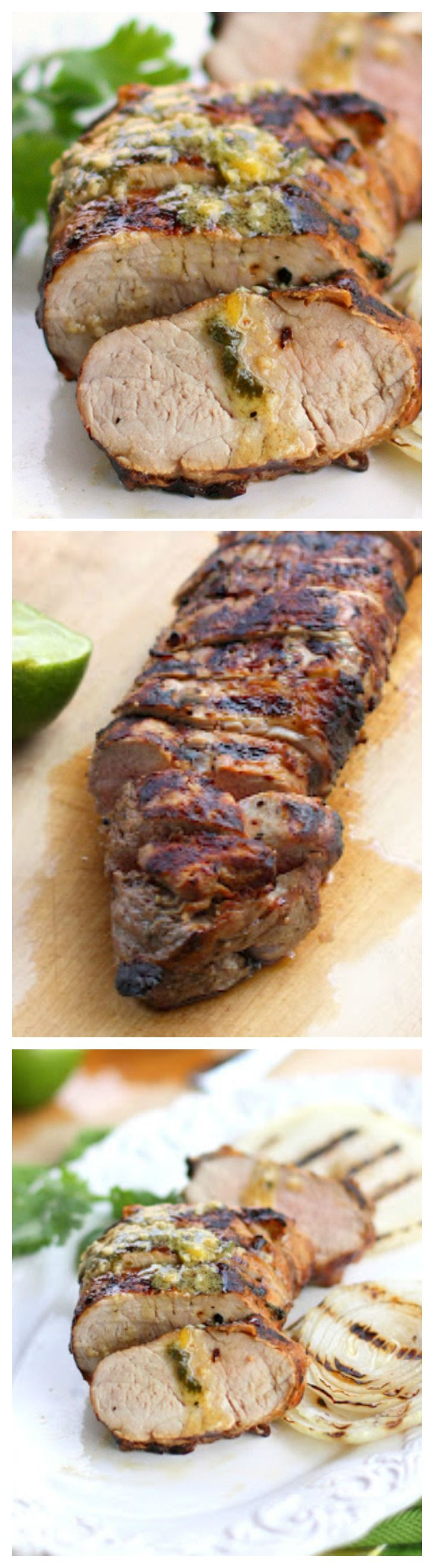 Mojo Pork Tenderloin - Garlic and citrus infused pork. Super tender and great flavor. the-girl-who-ate-everything.com