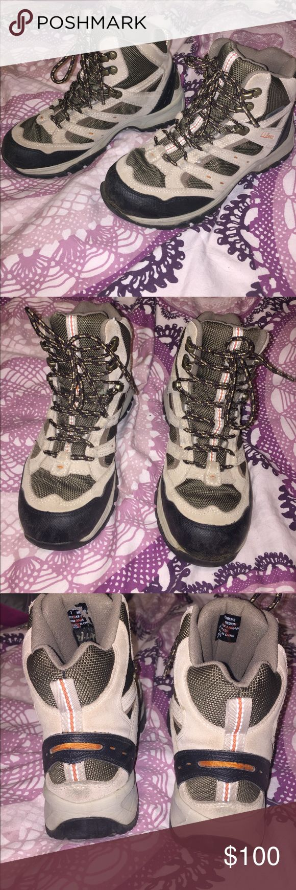 L.L. Bean hiking boots. excellent condition! Gorgeous. Comfortable. Light tan with olive green accents  TEk 2.5 . Waterproof L.L. Bean Shoes Athletic Shoes