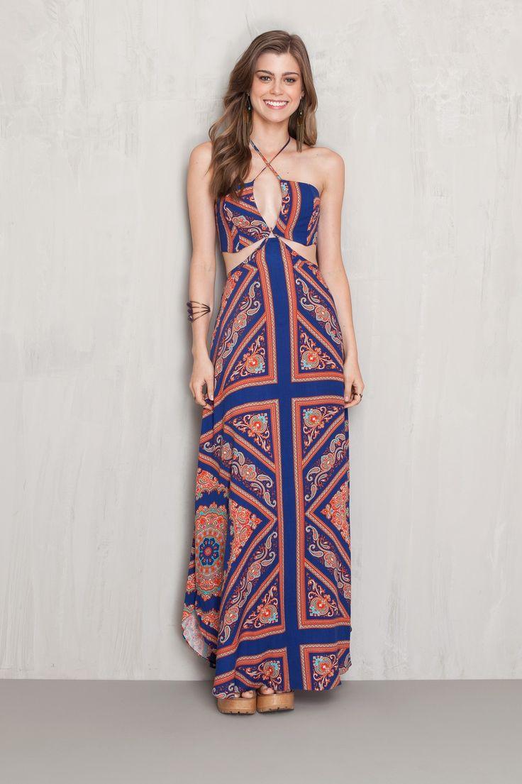 Vestido longo estampado sky | Dress to