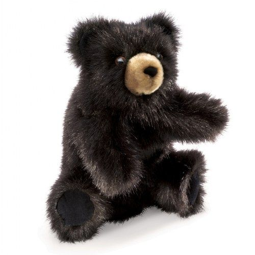 """3 years & up. This Baby Black Bear hand puppet features soft fur, a sweet face, and movable head and arms. Measures 5""""L x 6""""W x 9""""Tall."""