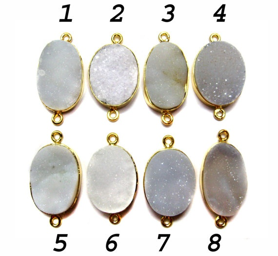 24 kt Gold Plated Druzy Connectors   White colour by finegemstone, $13.00: Druzy Connectors, Connectors White, Gemstone Connectors, Colour Fine, Gold, Fine Quality