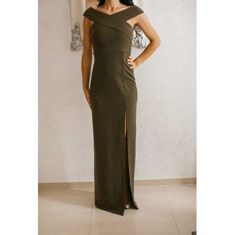Kobieca długa sukienka z ciekawym dekoltem X w kolorze khaki