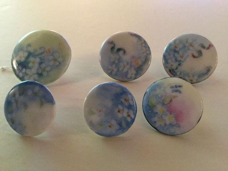 Six Antique Hand Painted Porcelain Limoges Victorian Button Studs-Floral
