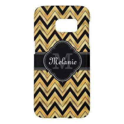 Golden Chevron Pattern Black White Monogram Samsung Galaxy S7 Case - pattern sample design template diy cyo customize