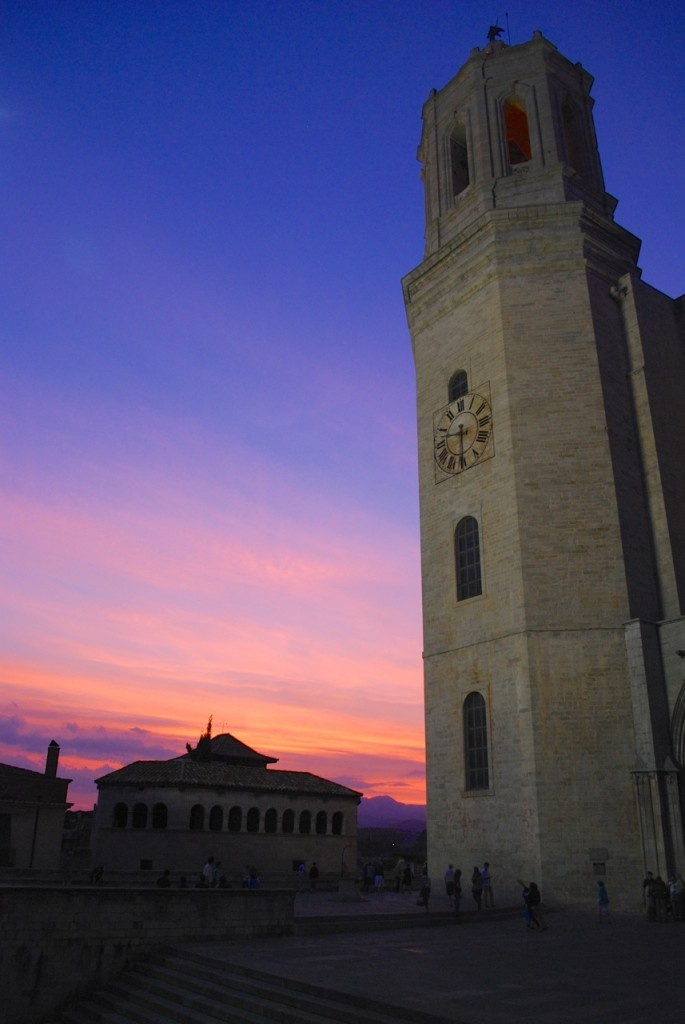 The sunset over Girona, Spain