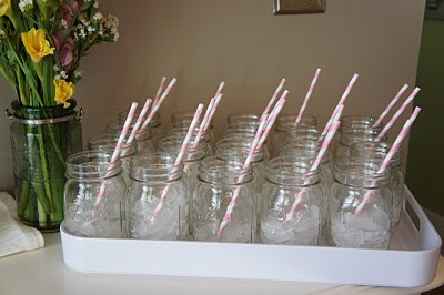 Mason Jars & Striped Straws are a Perfect touch to any Southern Bridal Shower