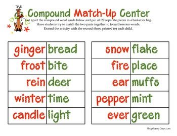 It's a fun compound activity that would be great for small groups or centers this week. There are two parts, one consists of cards to cut which the kids will try to put together to form 10 winter compound words. Then there is an extension sheet that asks them to alphabetize and arrange the words in different ways.