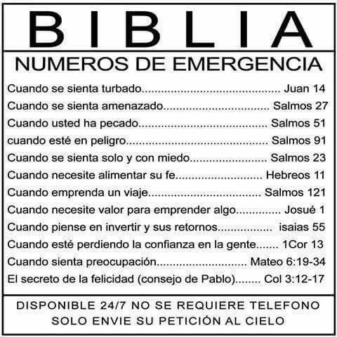 Números de Emergencia de la Biblia !!!