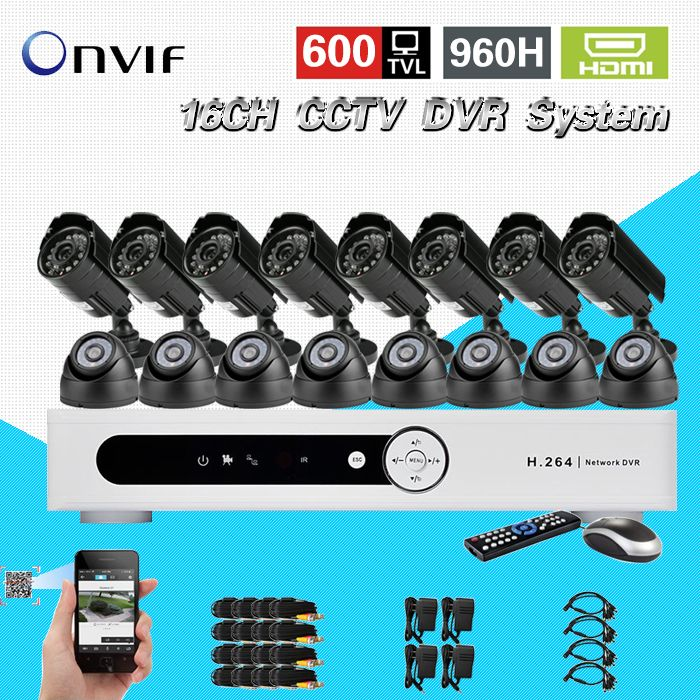 TEATE 600TVL 16 Ch IR indoor outdoor waterproof video Surveillance Camera security Kit Home cctv HDMI 1080P dvr System CK-041