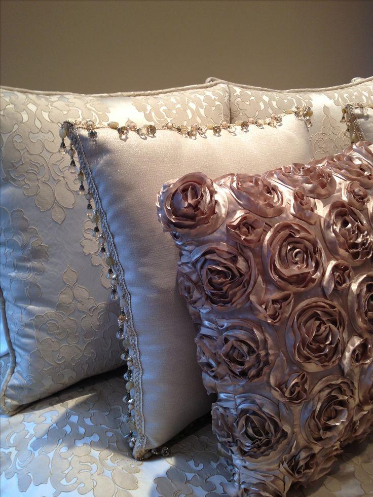 Custom pillows for a master bedroom,