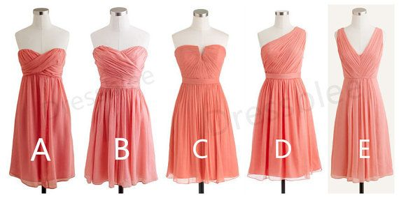 Short coral chiffon bridesmaid dresses in different for Different necklines for wedding dresses