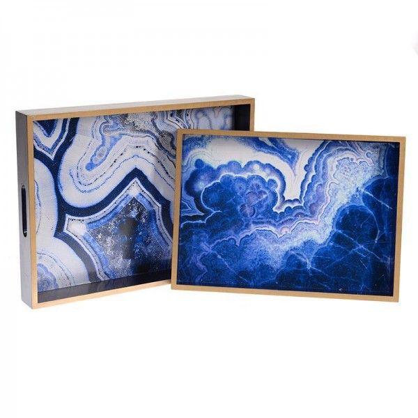 Δίσκος ξύλινος με μπλε μοτίβο 40x30x5cm