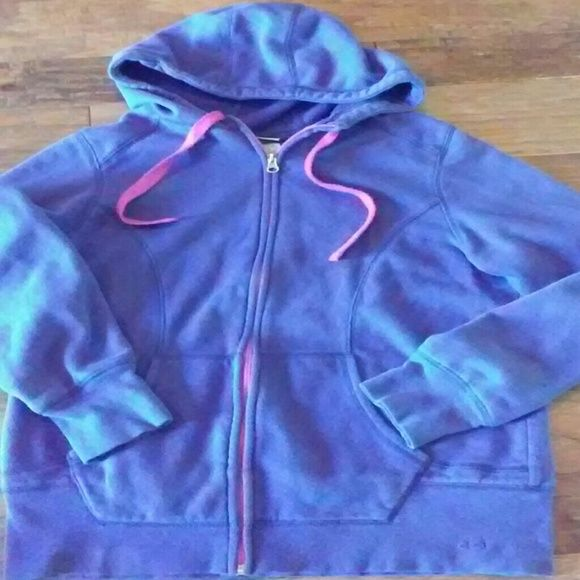 Purple women's hoodie Lg front zip Has been used always washed in cold water aired dried always.. No holes or stains..has. Pink purple zipper And ties Champion Jackets & Coats