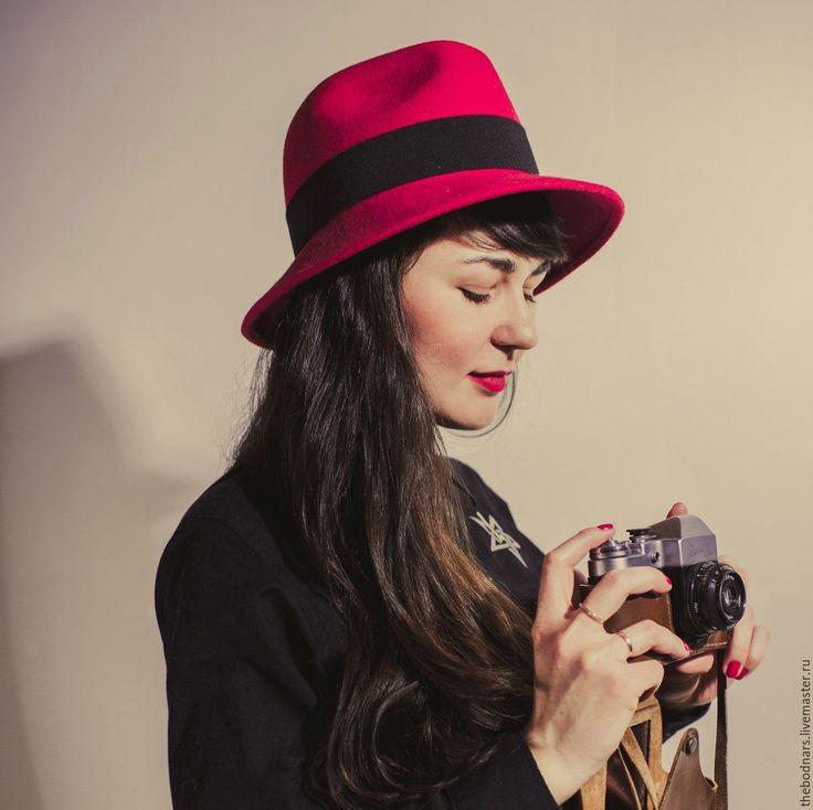 Купить Красная шляпа Федора - ярко-красный, красная шапочка, шляпа, шляпка, женская шляпа