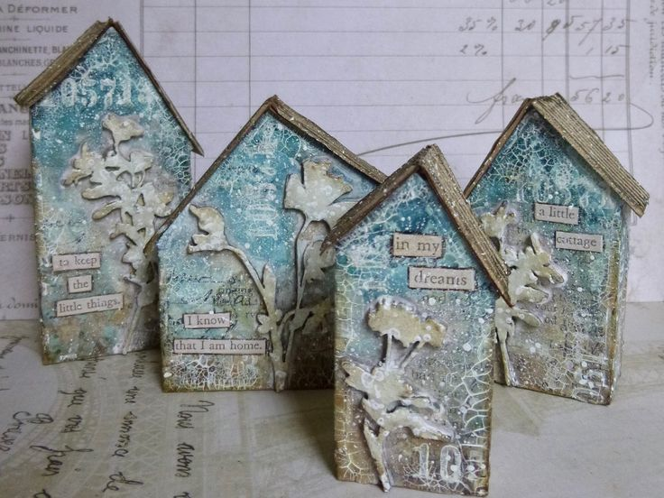 Mixed Media mini houses at Words and Pictures