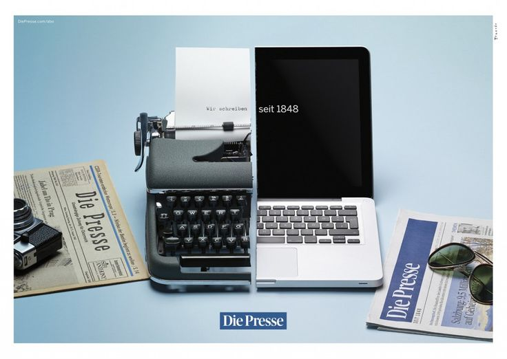 Die Presse: Wir schreiben seit 1848. #Advertising #Typewriter #MacBook
