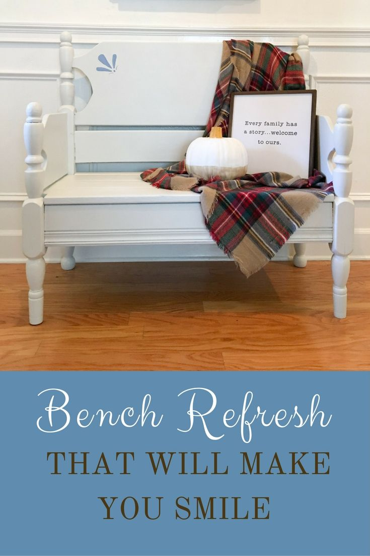 Bench refresh that gave this piece of furniture more than a new life. This upcycled bench has a story from what it used to be to now with it fine details.  Added artistic stencil details in blue give it lots of character.  Autumn fall decorations with pumpkin, word art, and plaid blanket. Life on Summerhill joined with Wagner Sprayer company to bring you a fresh new look for an old upcycled twin bed made into a country cottage bench decor piece for this farmhouse design