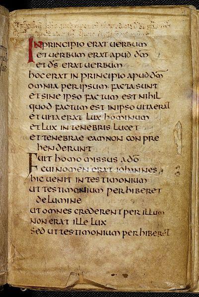 Start of the Gospel of St John in the St cuthbert or Stonyhurst Gospel. Northumbrian, c. 698