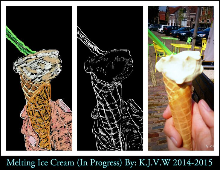 Melting Ice Cream (Progress/Art V.S Real) | Progress of My drawing of a early picture.  (Backwards!)  1: The Photo Itself 2:Drawing Lines and convert to Black&White  3:Colouring the sketch