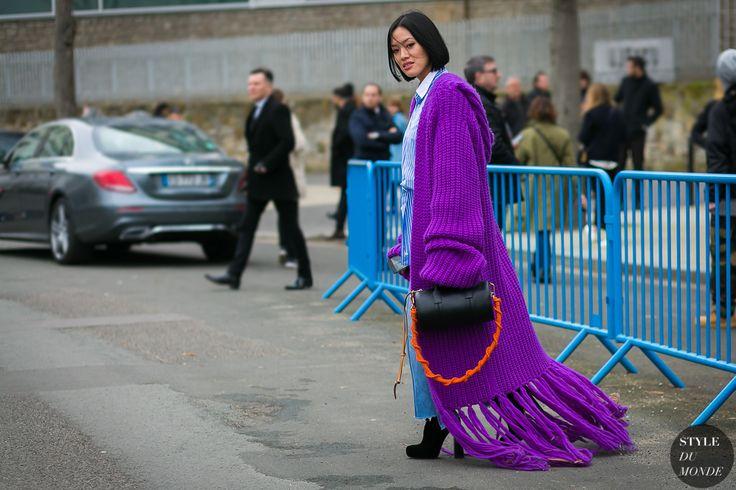 Paris Fashion Week Fall 2017 Street Style: Tiffany Hsu-Tiffany Hsu wearing J.W. Anderson cardigan and Loewe bag after the Loewe fashion show.
