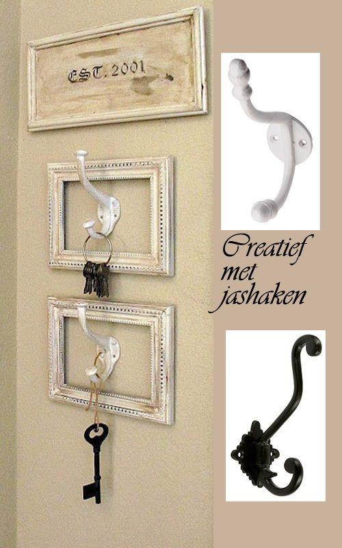 #diy idee om je #sleutels op te hangen. http://www.prijs-knaller.nl/c-2398524/kapstok-haken/