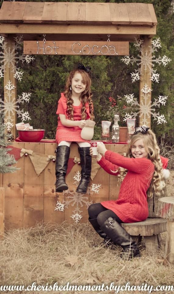Hot cocoa stand for winter in place of lemonade stand. Sisters, Christmas pose, winter photography ideas.