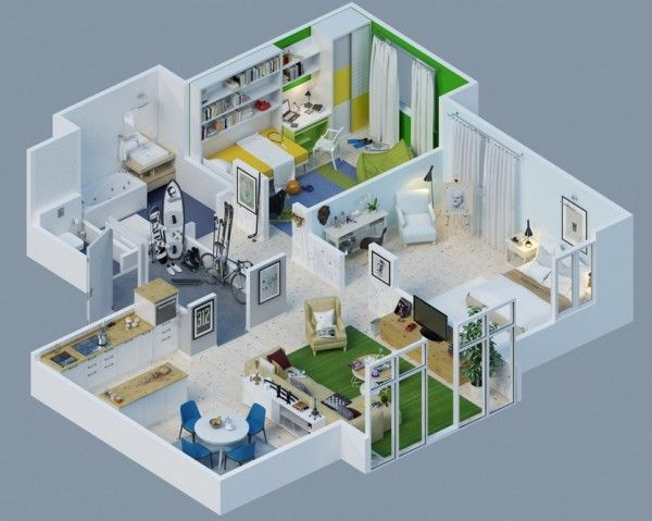 Awesome 3D Plans For Apartments