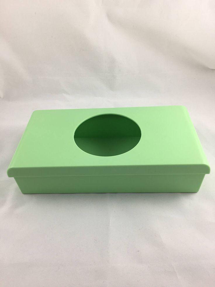 Vintage Plastic Tissue Box Cover, Mint Green Tissue Box Holder, Vintage Green Bathroom Accessories, Tissue Holder, Green Kleenex Holder by CapeCodModern on Etsy