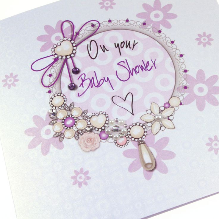 Handmade Embossed Luxury Baby Shower Card Ice Gold Shimmer Holographic Pearls Crystals Lilac - 'On your Baby Shower'