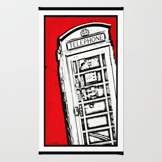 London Phone Box, Abstract, Red Area & Throw Rug