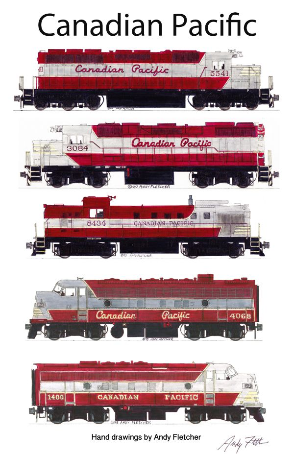 5 Canadian Pacific locomotives in the maroon paint scheme. Hand drawings by Andy Fletcher.