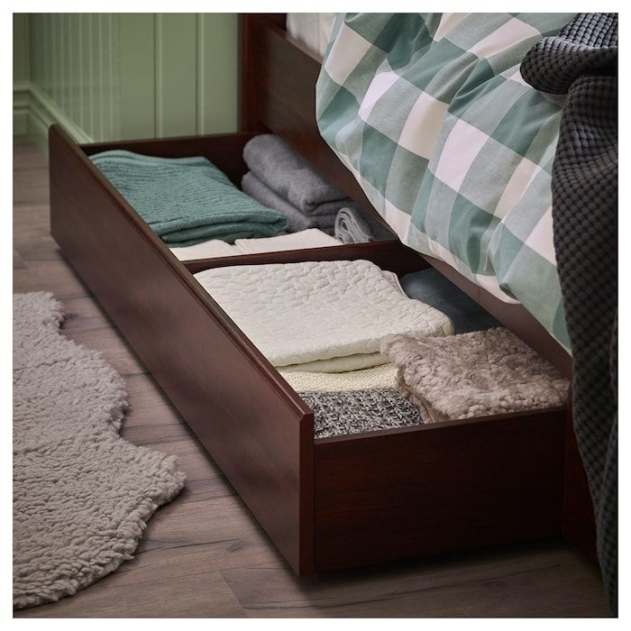 Ikea Songesand Brown Bed Frame With 4 Storage Boxes Under Bed