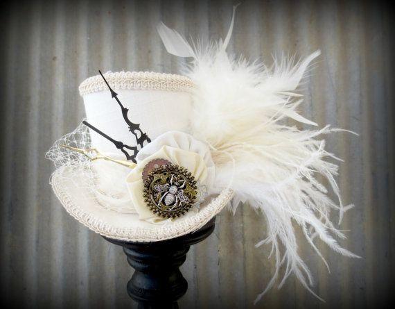 Queen Bee Steampunk Wedding Mini Top Hat, Alice in Wonderland, Tea Party Hat, Mad Hatter Hat, Bridal Shower,Cake Topper, cog hat, clock hat on Etsy, $65.64 AUD