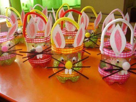 Petit panier de Pâques (fond de bouteille, cure-pipe, pompon, ruban/masking-tape)