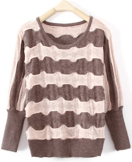 Coffee Batwing Long Sleeve Striped Pullover Sweater. This would be lovely on you Manda :)
