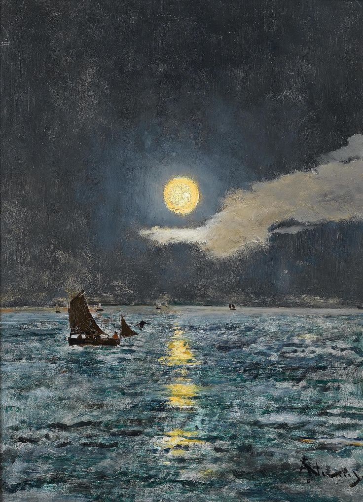 "Alfred Stevens (Belgian, 1823-1906) - ""Barques de pêche au clair de lune"" (Fishing boats by moonlight)"
