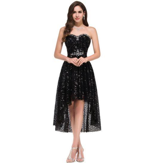 Black Asymmetrical Mid-Length Women's Formal Dress - Bridesmaids - Prom - Party