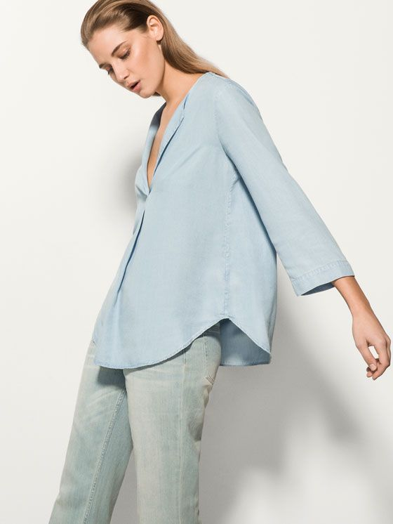 SKY BLUE FLOWING BLOUSE