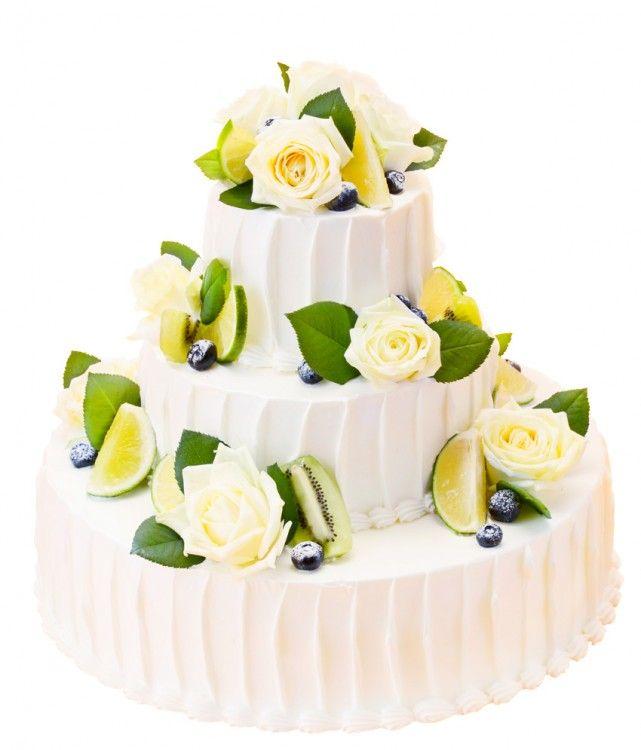 丸三段生花&グリーンフルーツ(スタンダード・ウェディングケーキ)キウイやライムなどのグリーン系のフルーツと白バラを飾ったさわやかなケーキです。フルーツをベリー系にかえて頂くとかわいらしいケーキになります。
